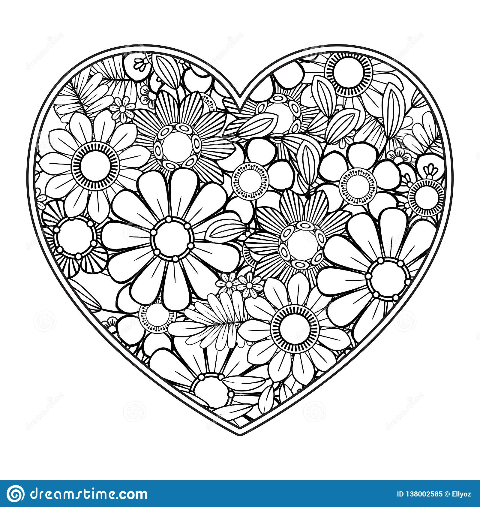 Valentines Day Coloring Page Stock Vector Illustration Of Flower Book 138002585
