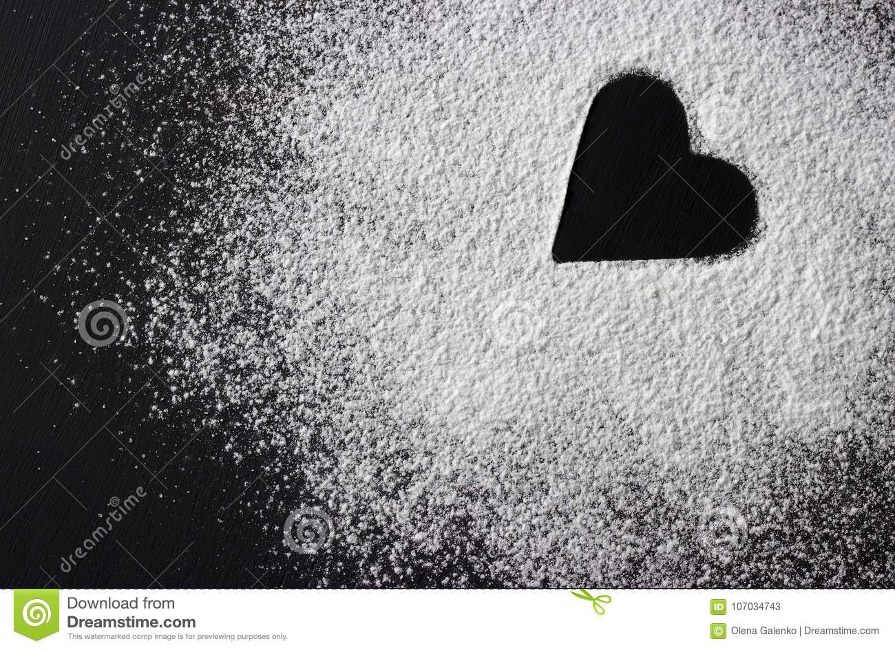 Download Valentines Day Concept White Flour Heart Shape On Black Backround. Stock Image - Image of flour, dough: 107034743