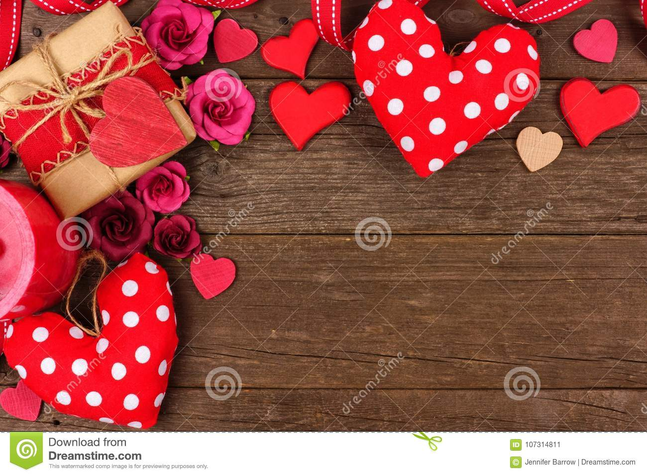 Valentines Day Corner Border Of Hearts Gifts Flowers And Decor On