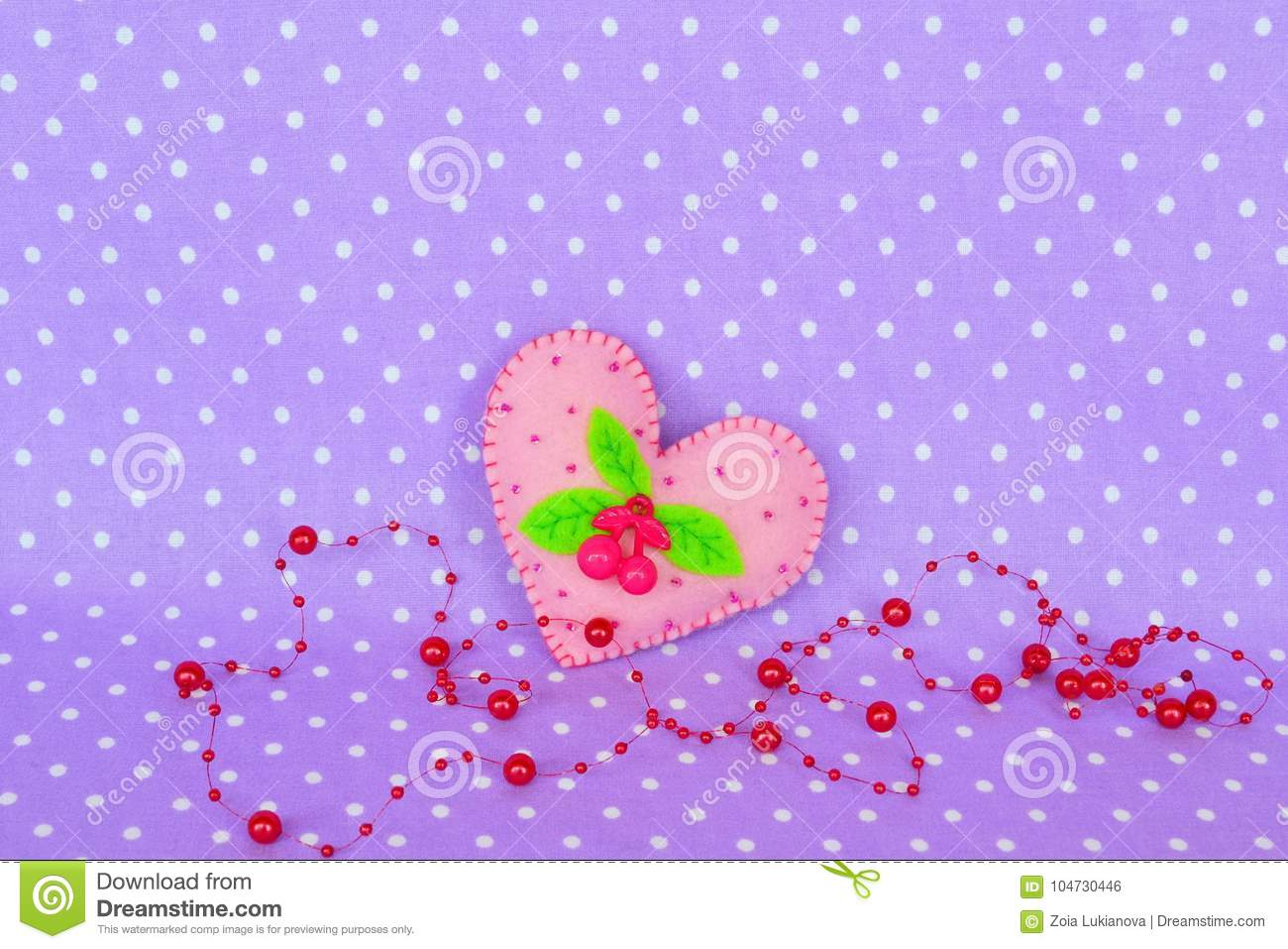 Pink Felt Heart With A Cherry Leaves And Beads Stock Photo Image