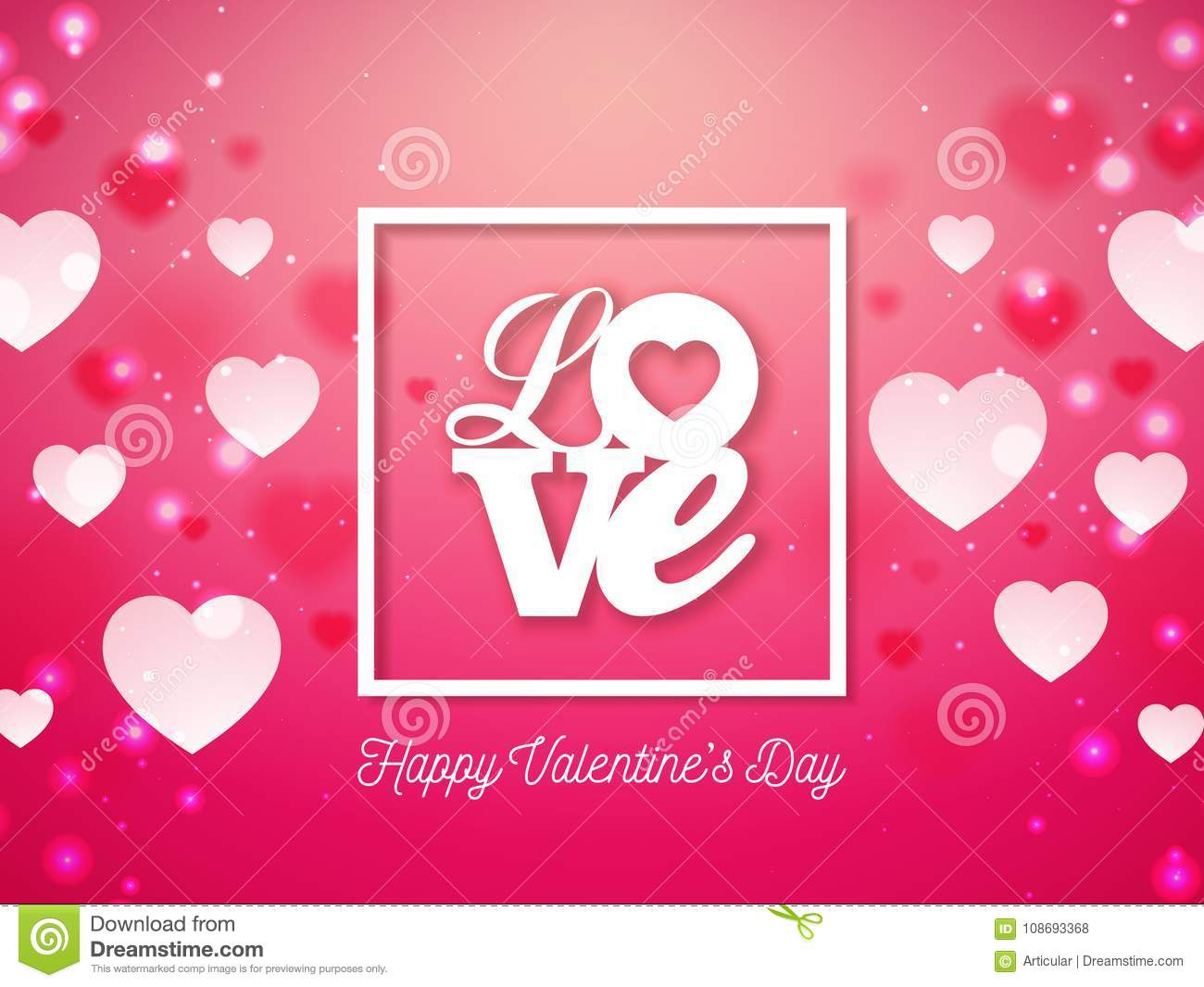 Valentines Day Design With Heart And Love Typography Letter On Shiny