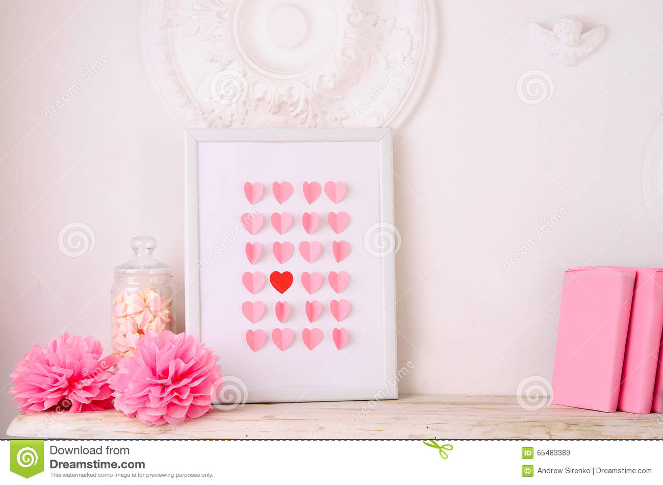 Valentines Day Design With Hearts In Frame Stock Image - Image of ...