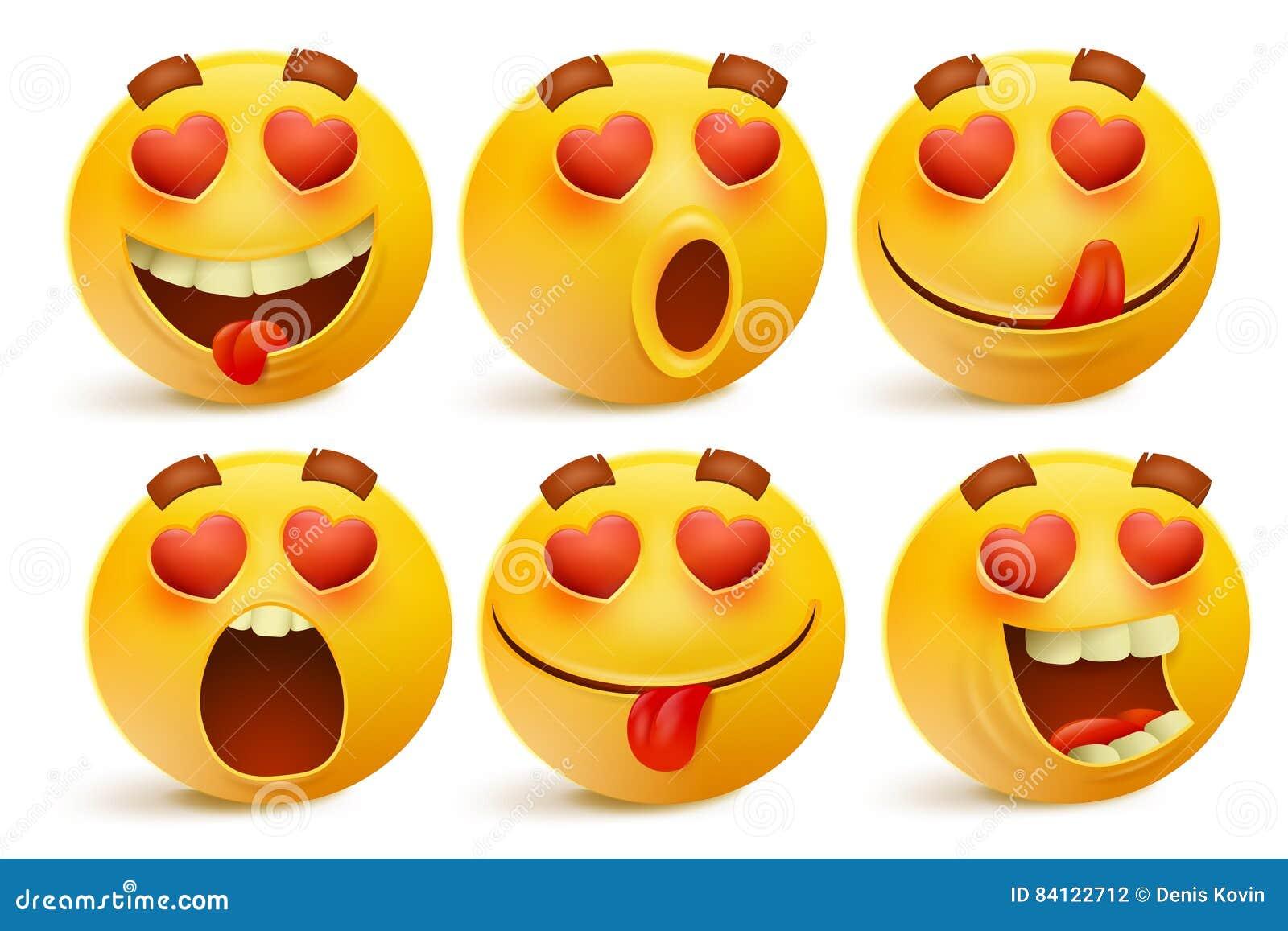 Valentines Day Emoticon Icons Love Emoji Set On White Background