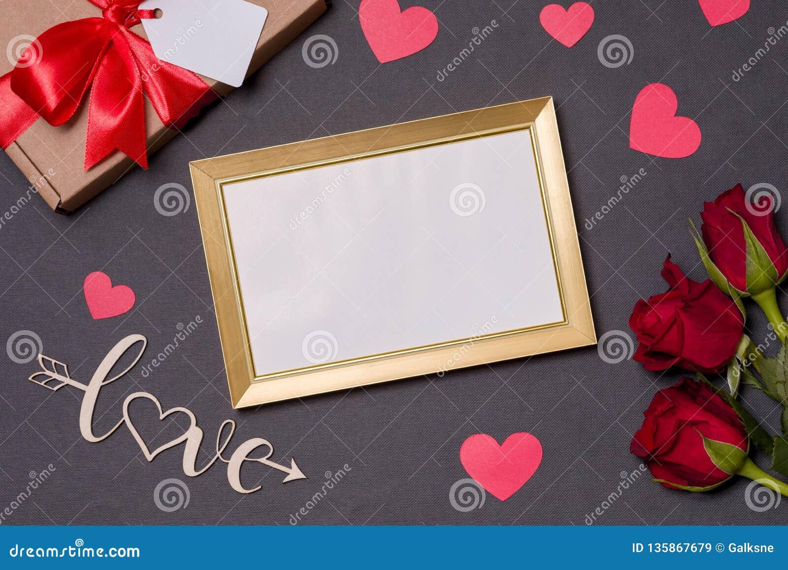 Valentines Day Empty Frame Love Black Background Gift Red