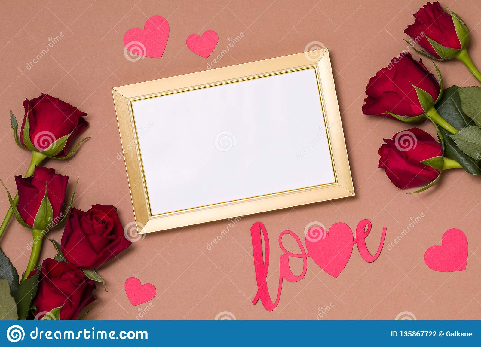 Valentines Day Empty Frame Love Nude Background Gift Red