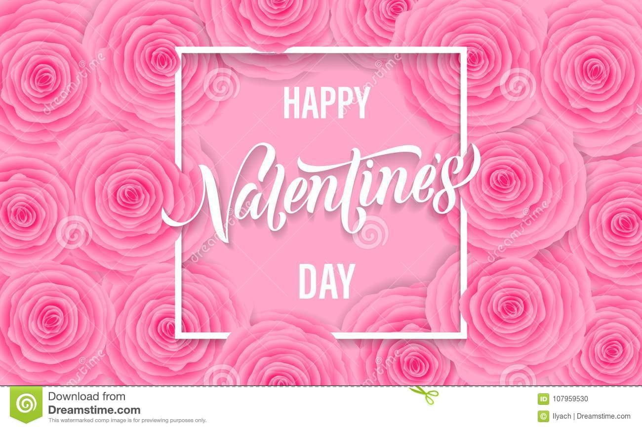 Valentines Day Floral Greeting Card Of Pink Roses Pattern Background