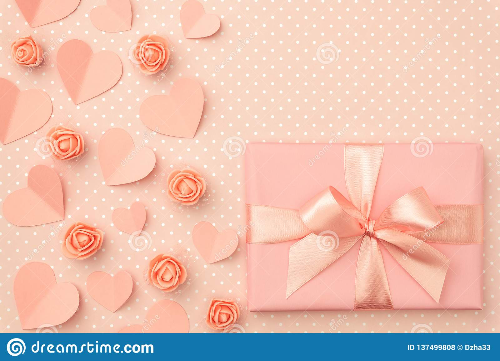 Valentines Day Flower Composition On Living Coral Background With