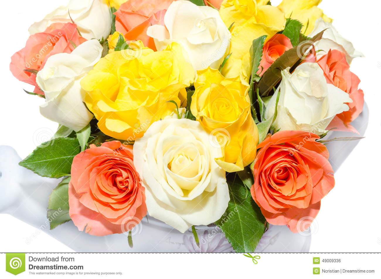 Valentines Day Flowers With White Orange Red And Yellow Roses