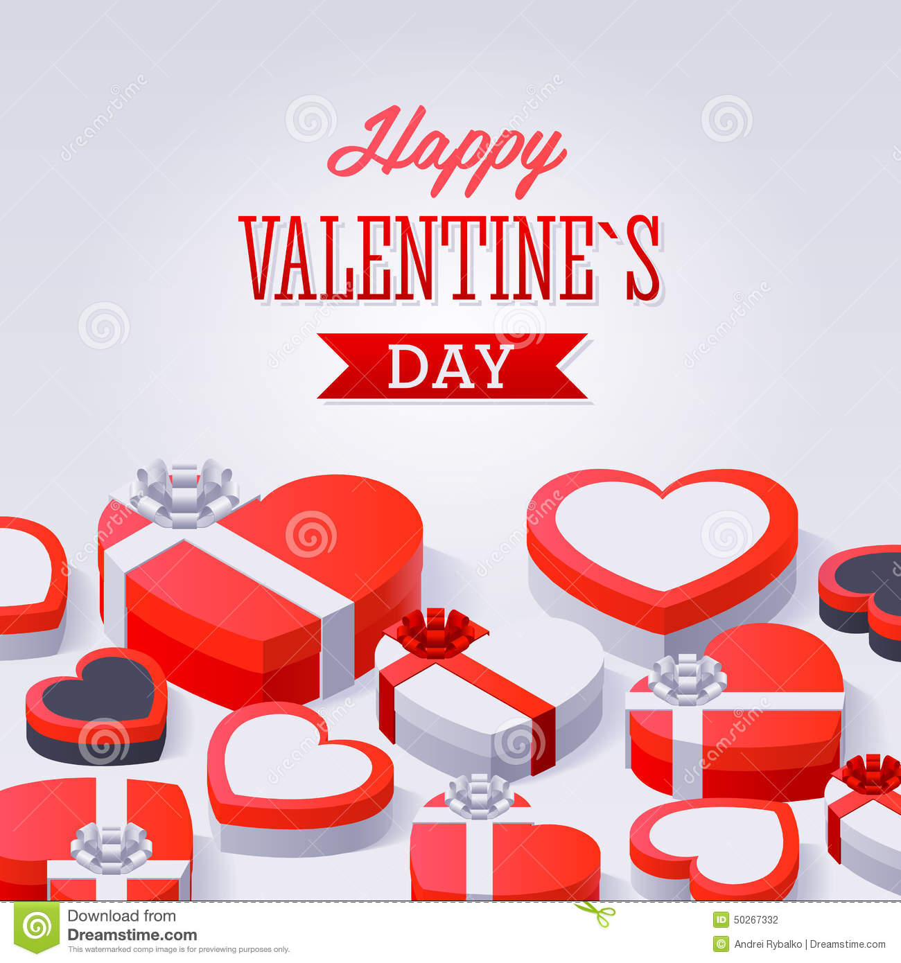 Valentines Day Gift Boxes Stock Vector Illustration Of Card 50267332