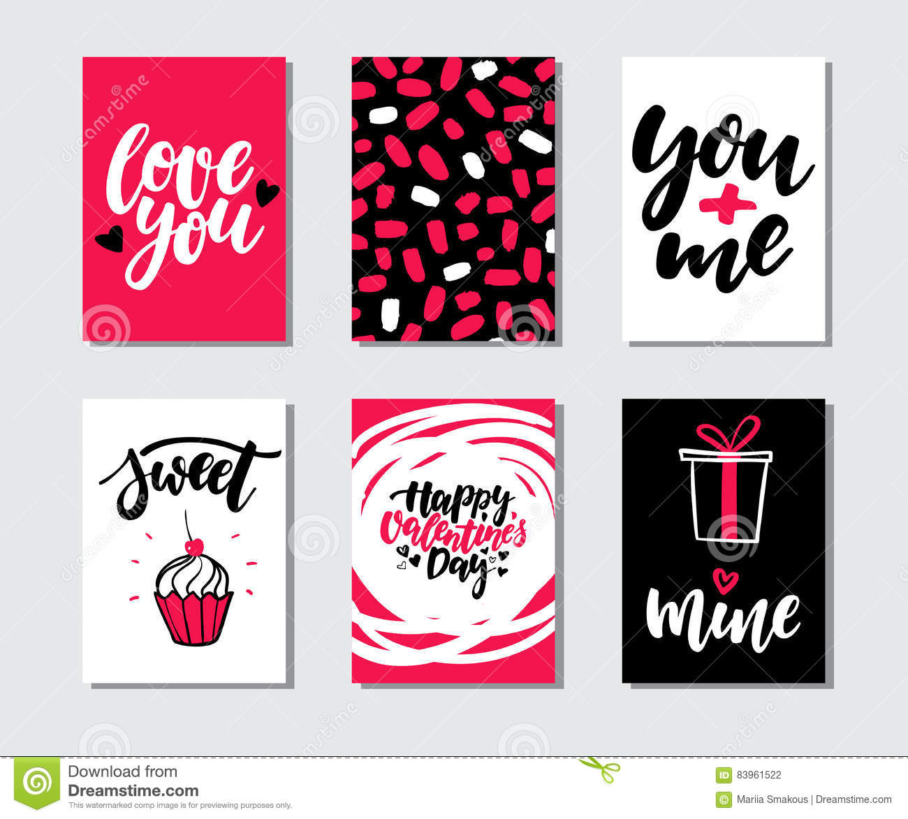 Valentines day gift card vector set hand drawn printable for Love quotes for card