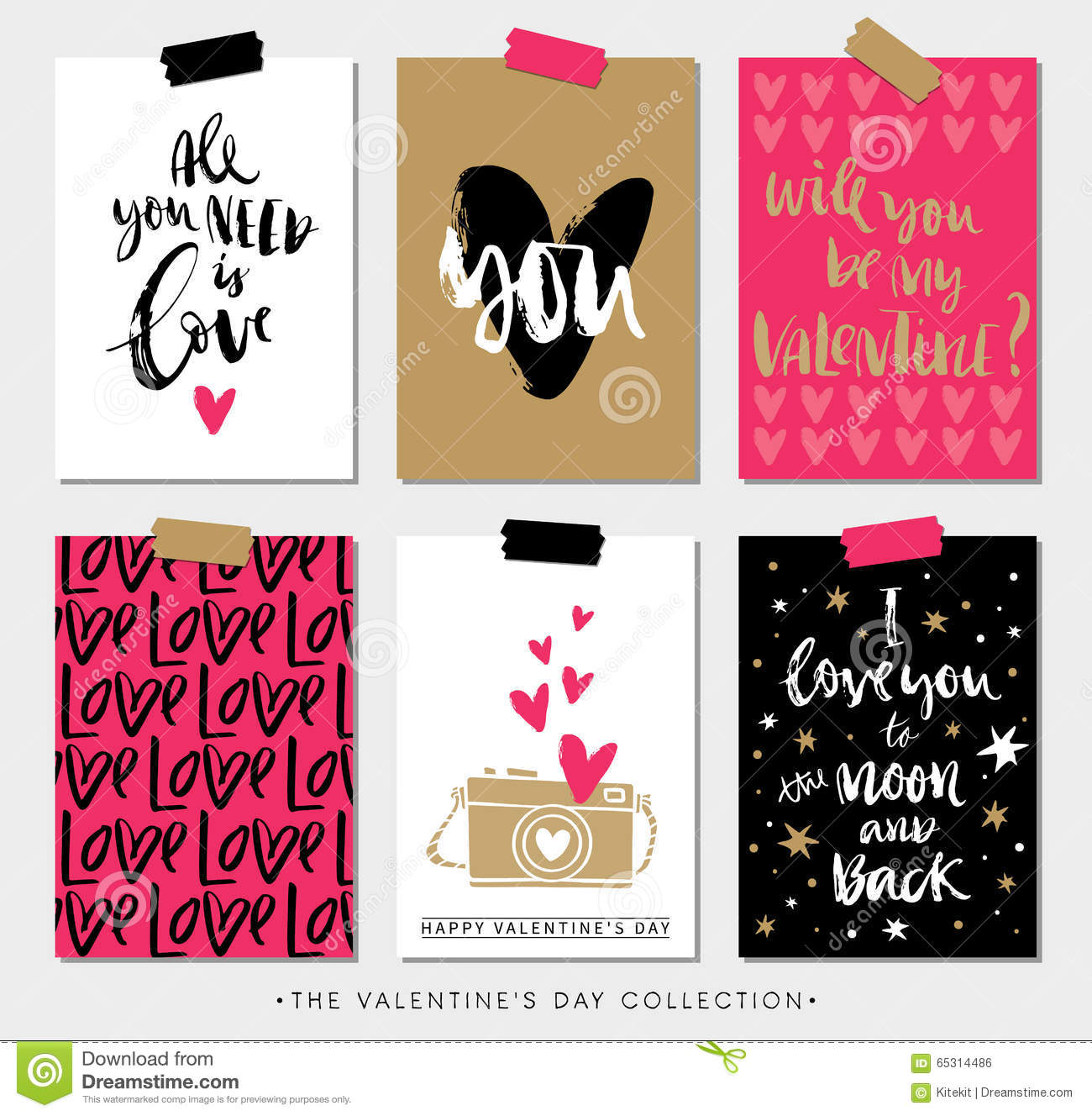 Valentines Day Gift Tags And Cards With Calligraphy Stock Vector
