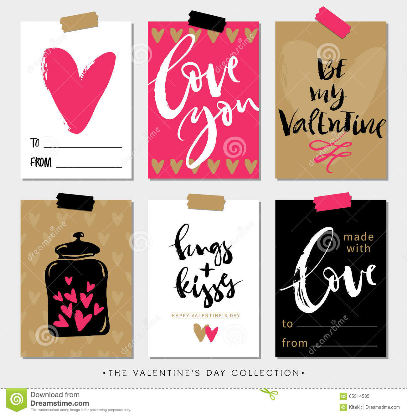 Valentines day gift tags and cards with calligraphy stock