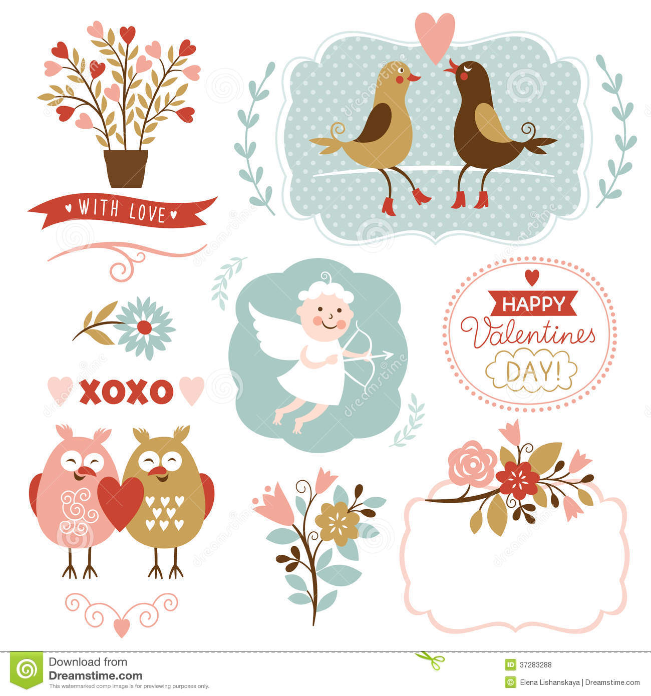 Valentines Day Graphic Elements Vector Collection Stock Vector