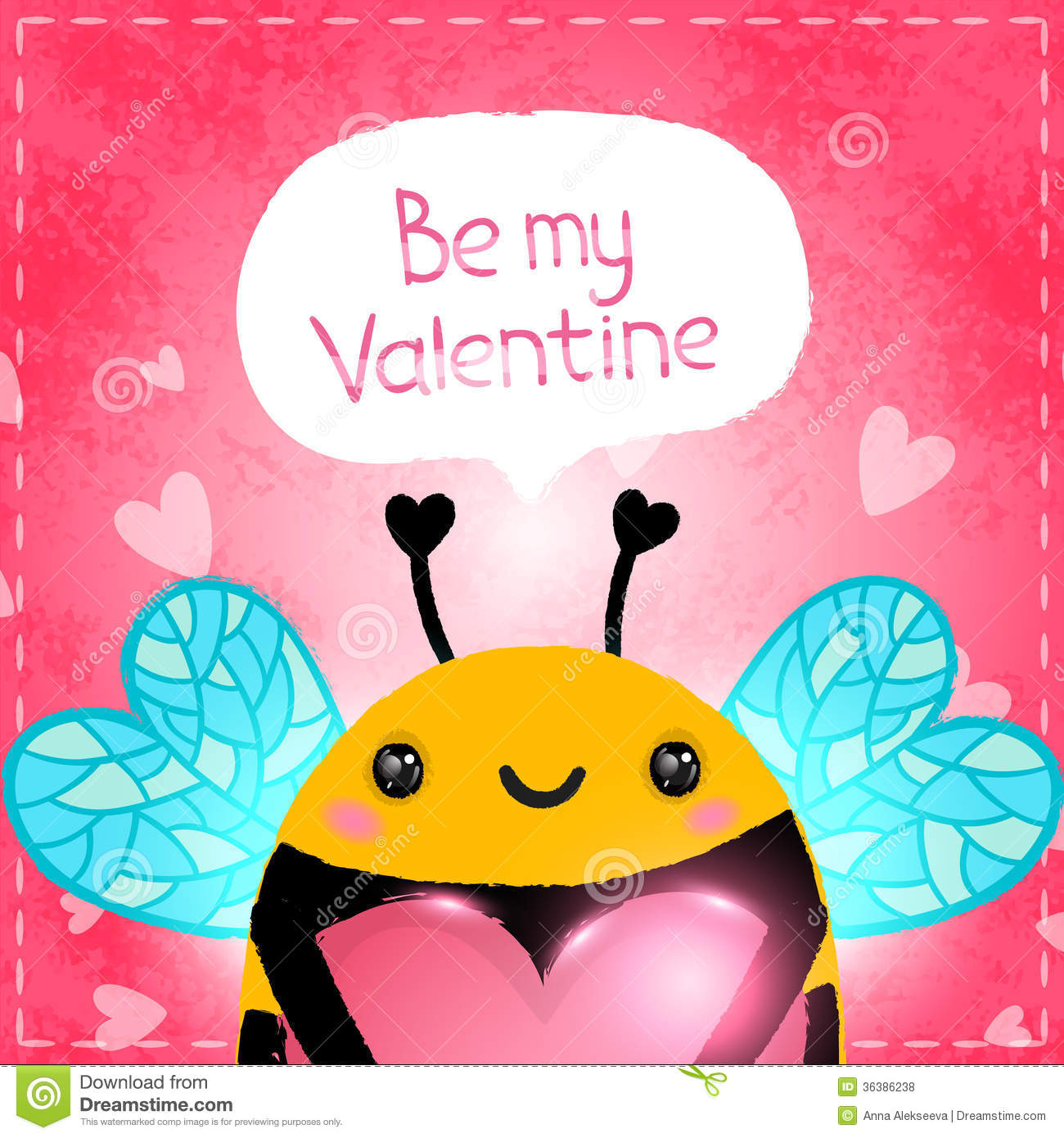 Valentines Day Greeting Card With Bee And Heart Royalty Free – Bee Valentine Cards