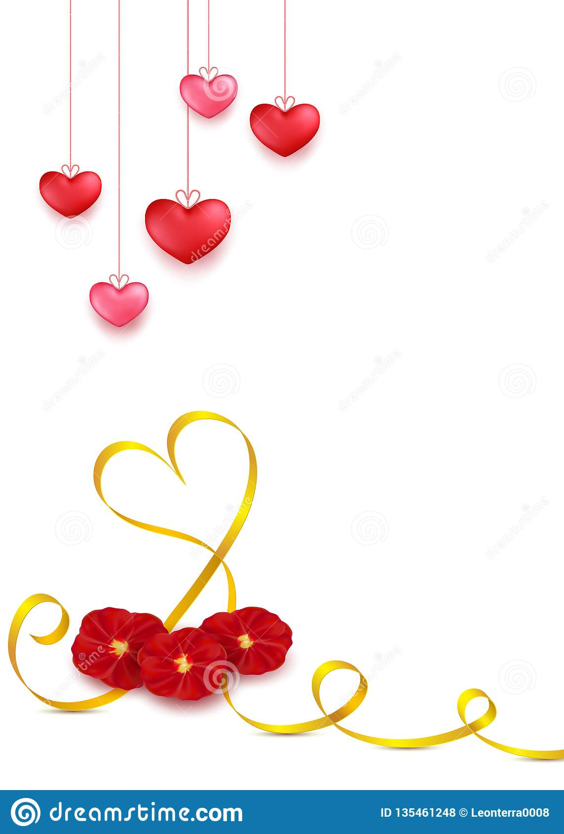 Valentines day greeting card design in 3d style on white background. Hanging red hearts with golden stripe and red rose petals flo