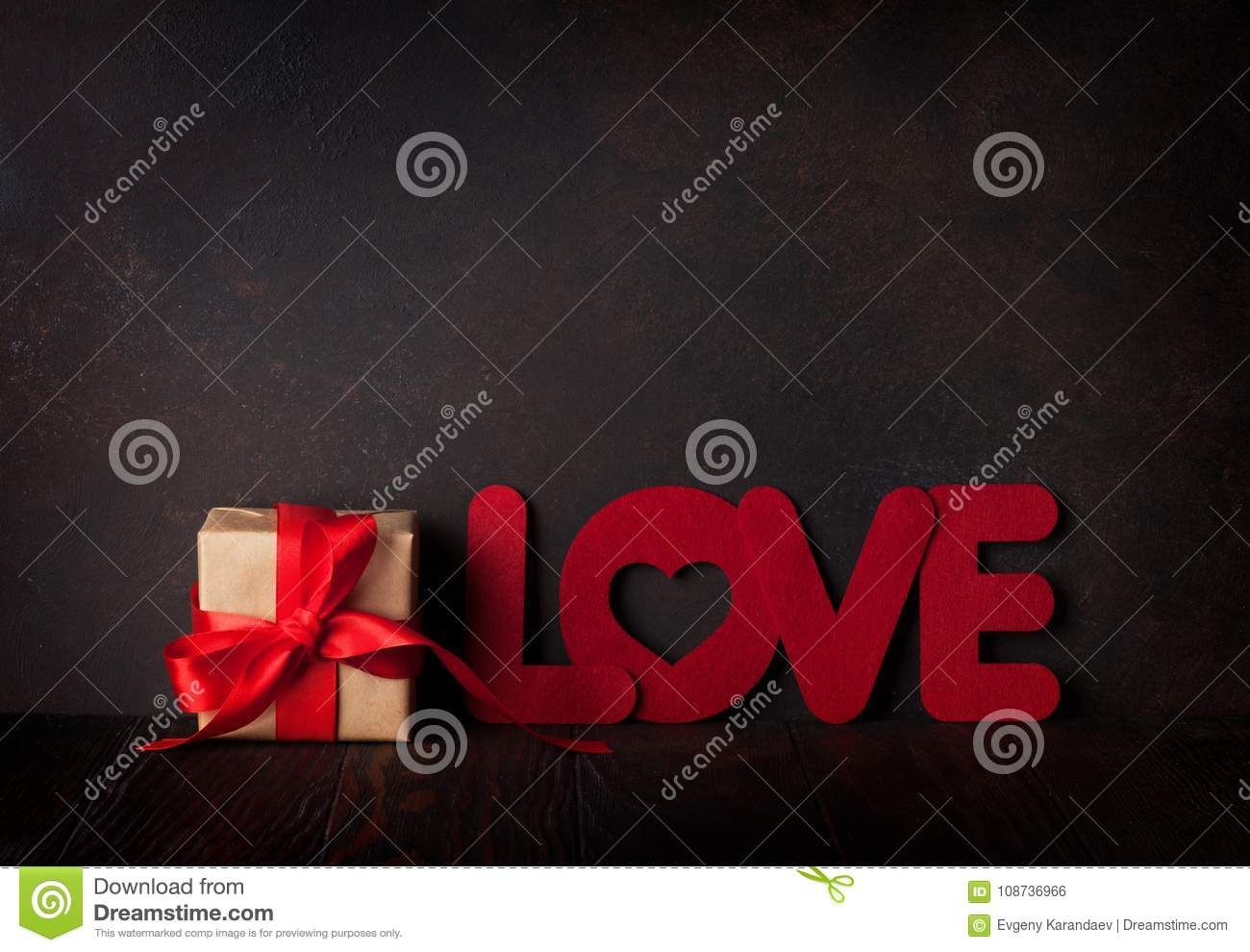Download Valentines Day Greeting Card With Love Word And Gift Stock Photo Image Ofe