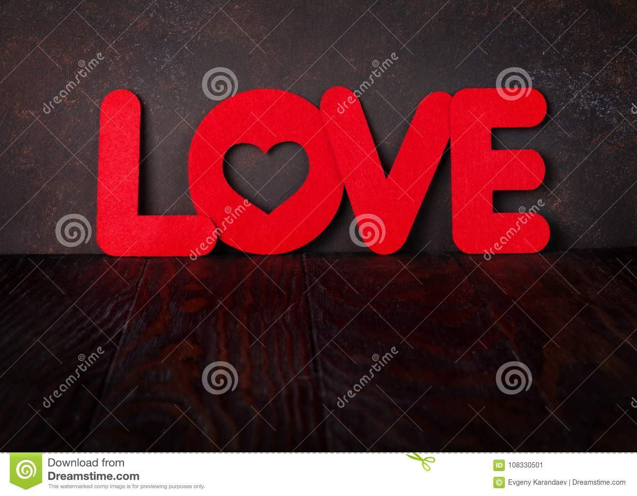 Valentines Day Greeting Card With Love Word Stock Image Image Of