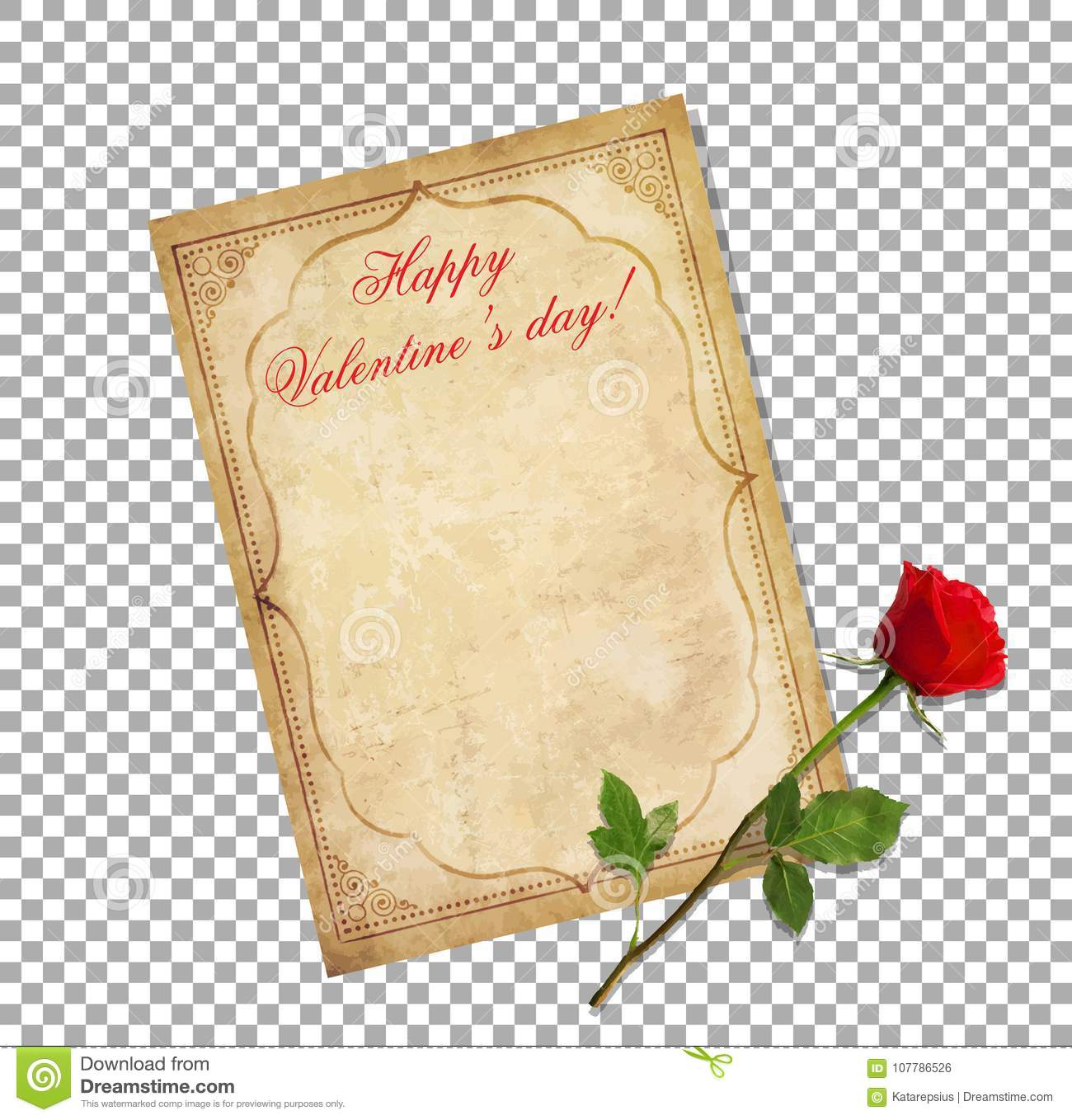 Valentines Day Greeting Card Vintage Love Letter With Red Rose