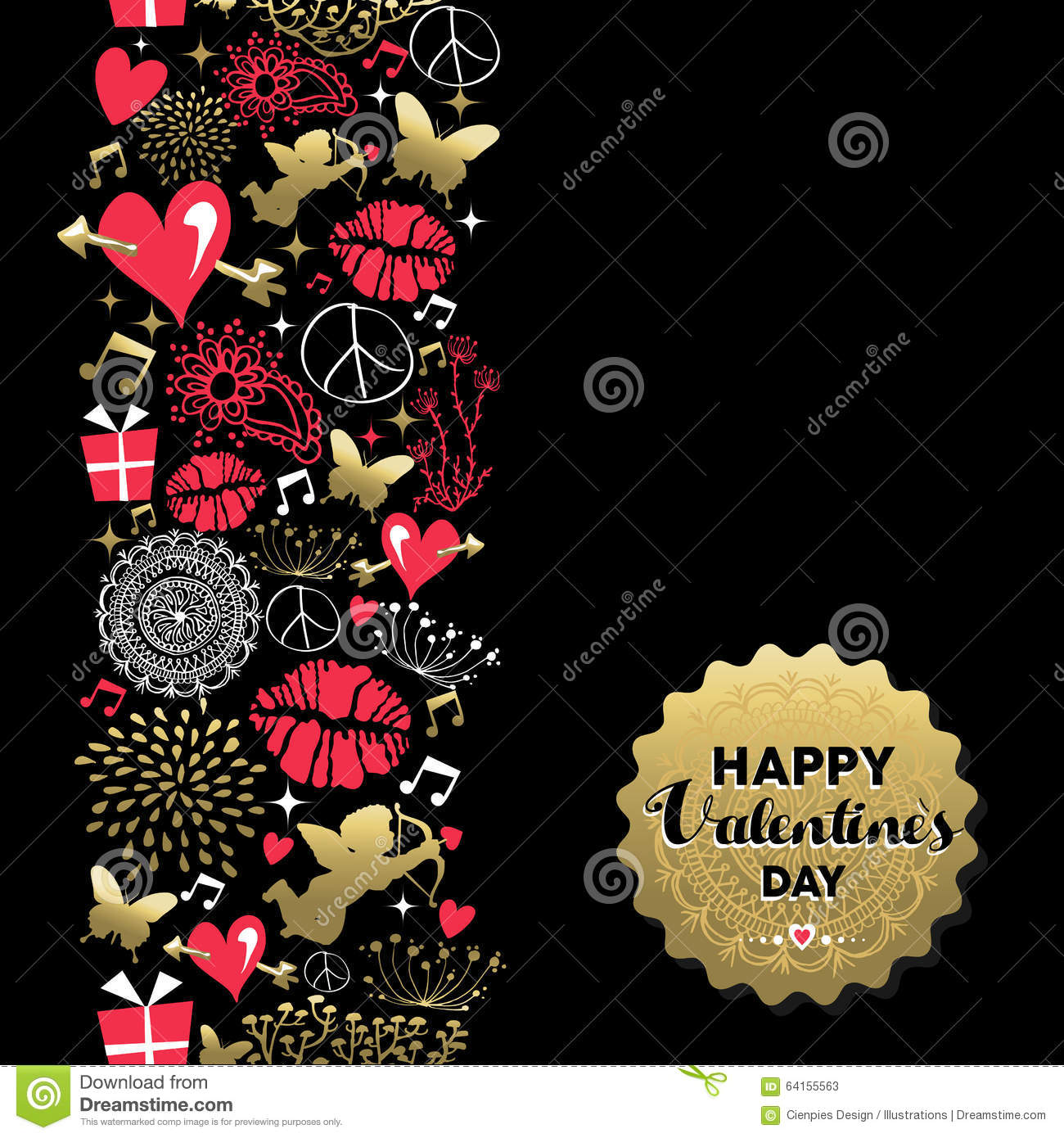 Valentines day greeting card pattern vintage icon