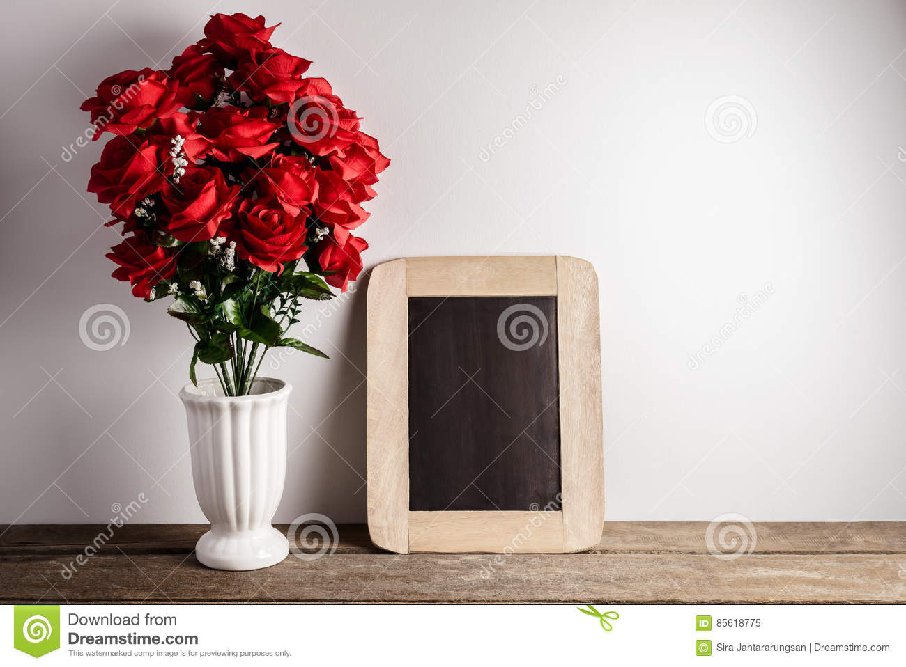 Valentines Day Greeting Card Red Rose Flowers And Chalkboard On