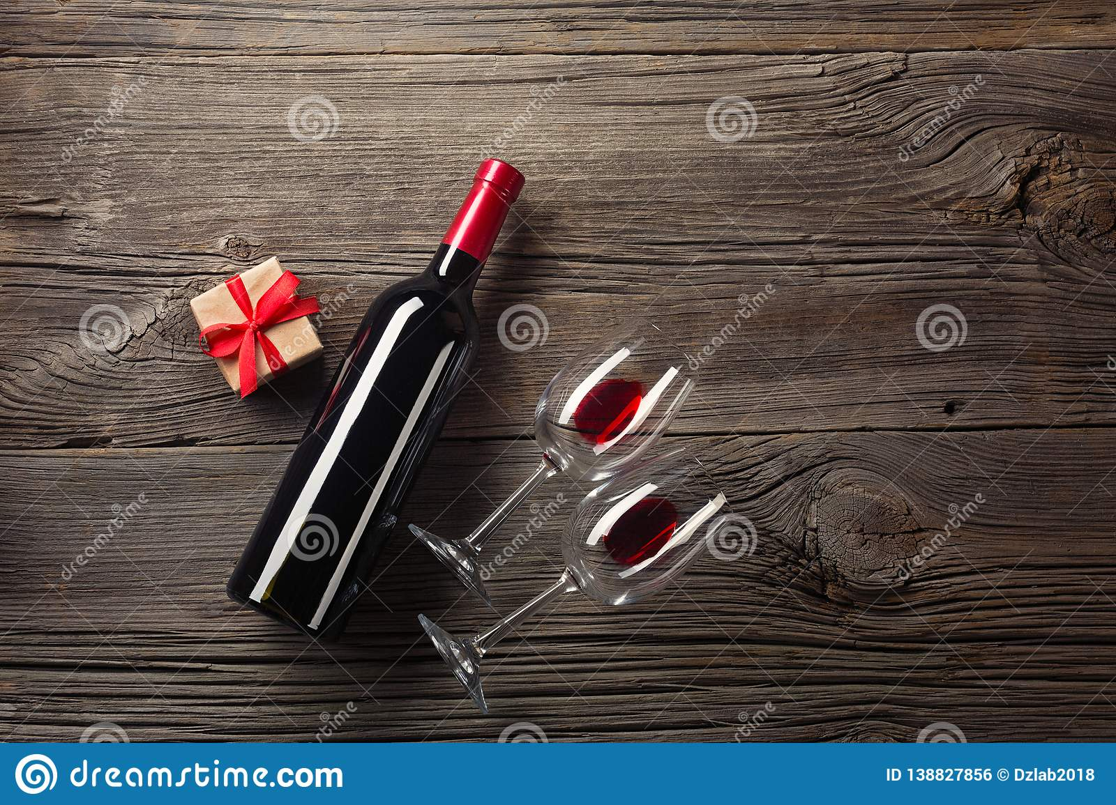Valentines Day Greeting Card Red Wine Gift Box And Glasses On