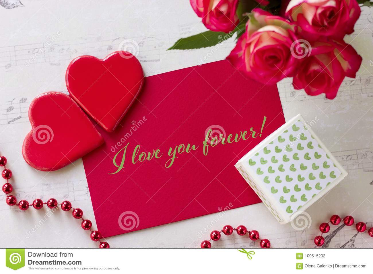 Valentines Day Greeting Card With Roses Gift Box Hearts And