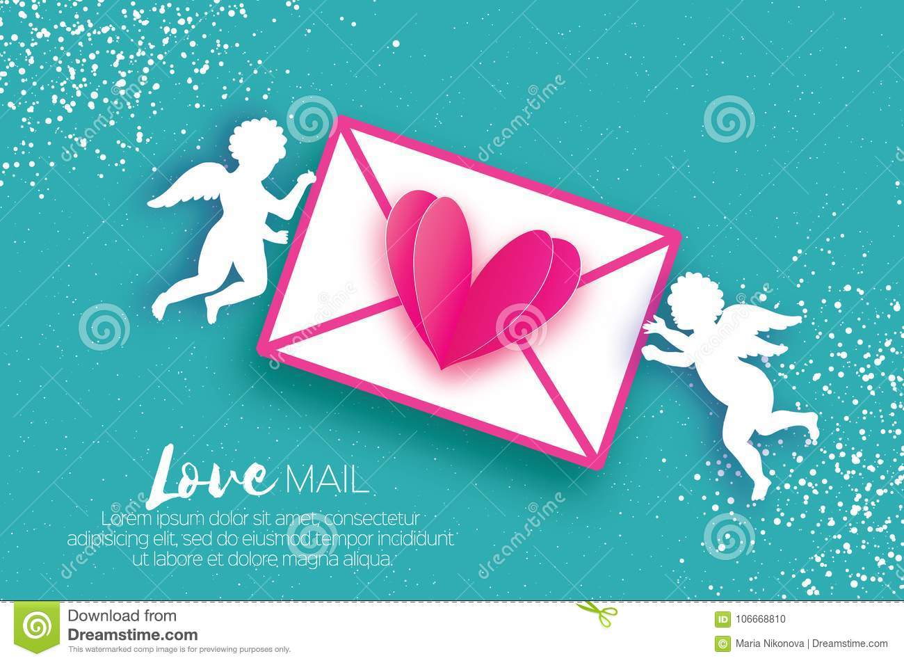 Valentines Day Greeting Card With Upids - Flying Angels. Stock ...