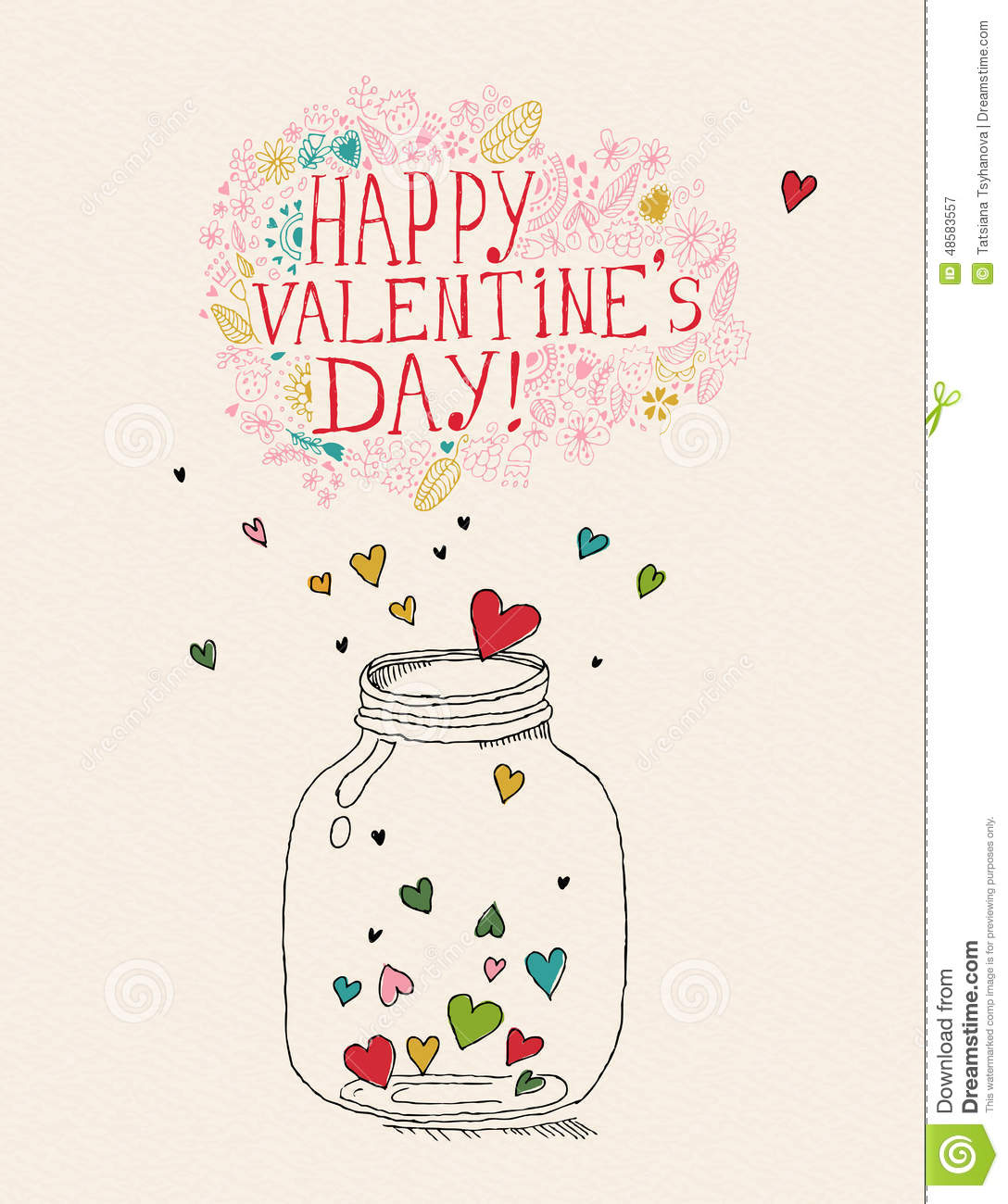 Valentines Day Greeting Card In Vintage Hipster Style