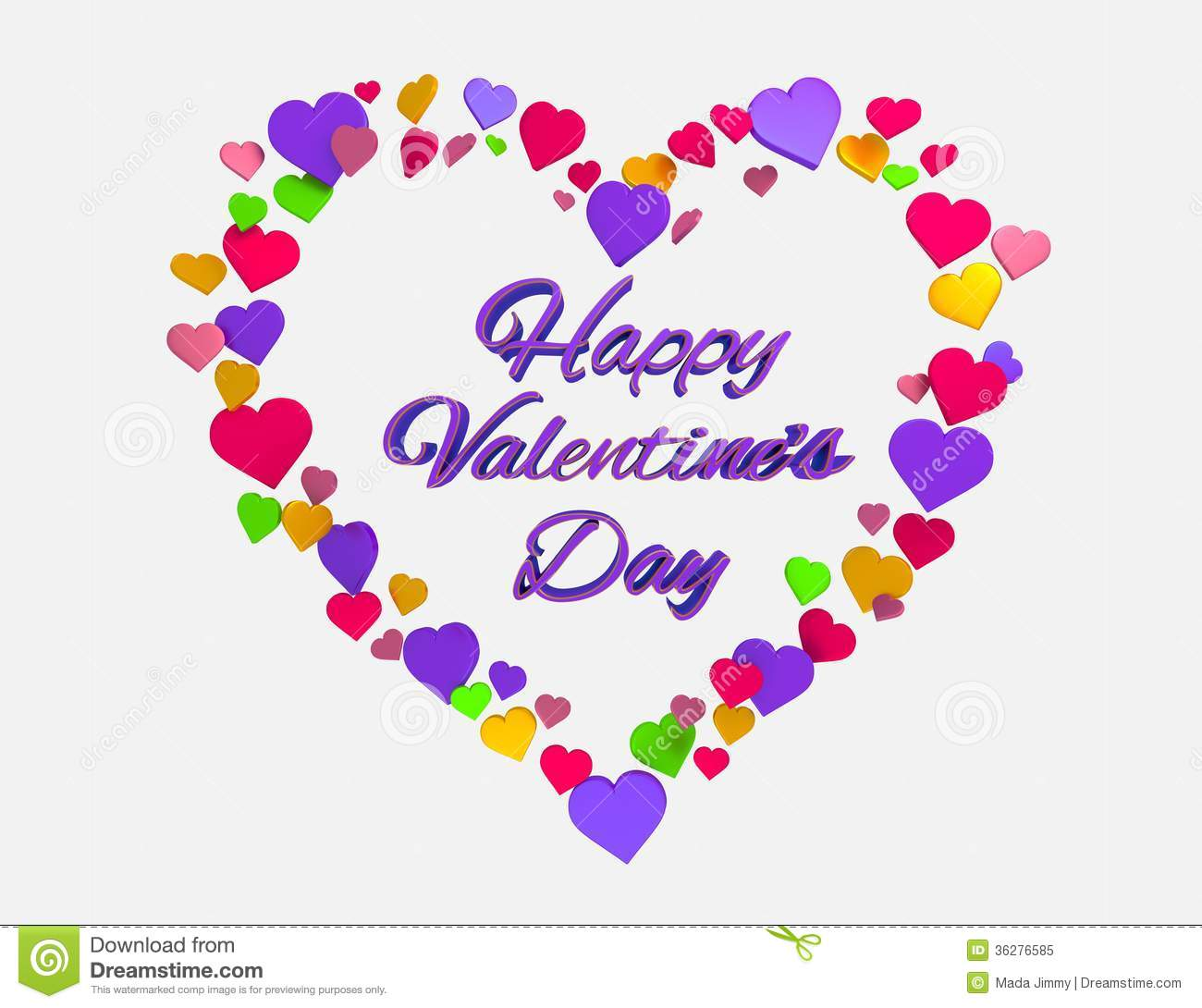 Happy Valentines Day Heart 3d Stock Illustration - Image: 36276585