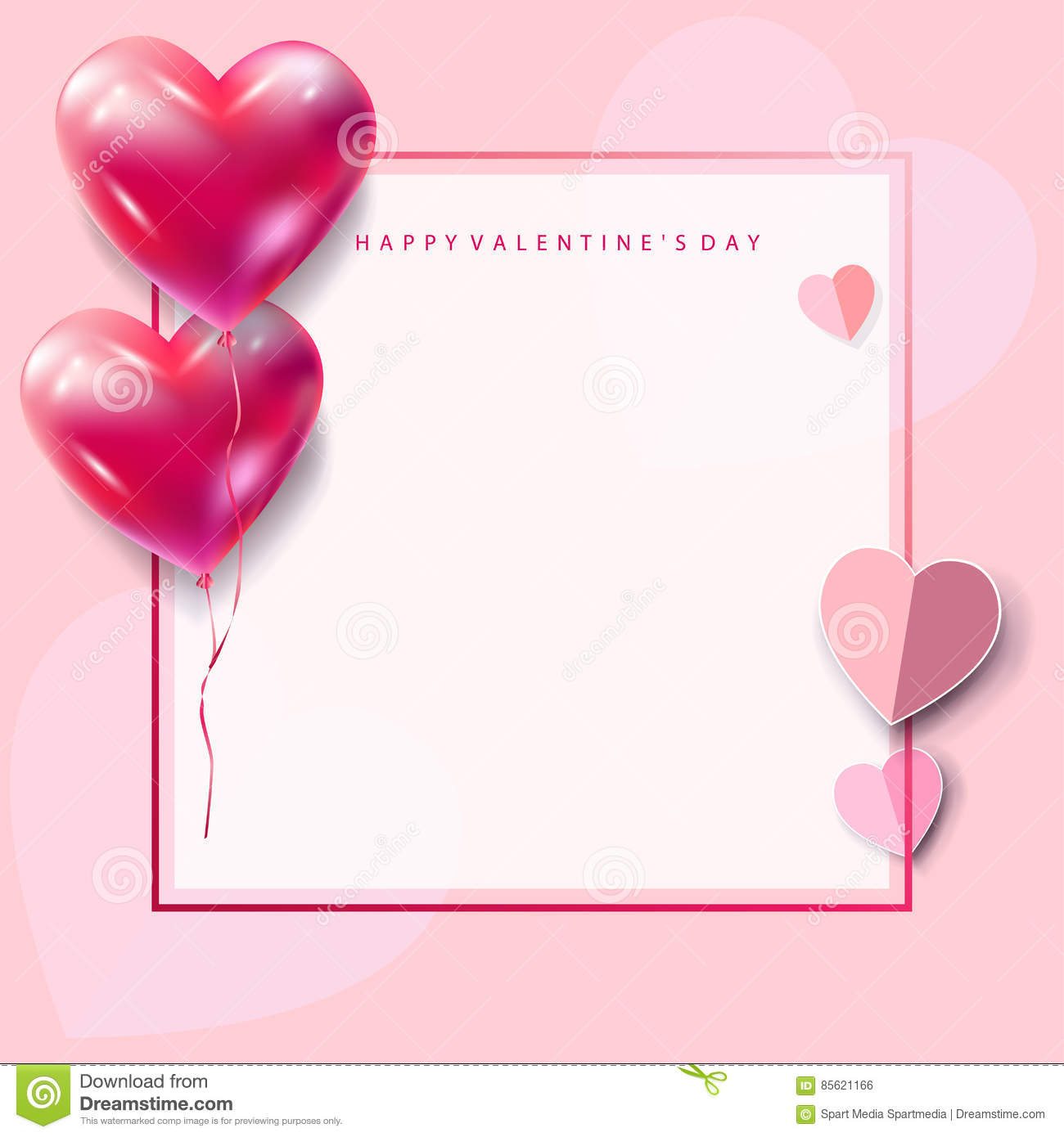 Love Romance Frame Valentines Day Card Blank Page Stock