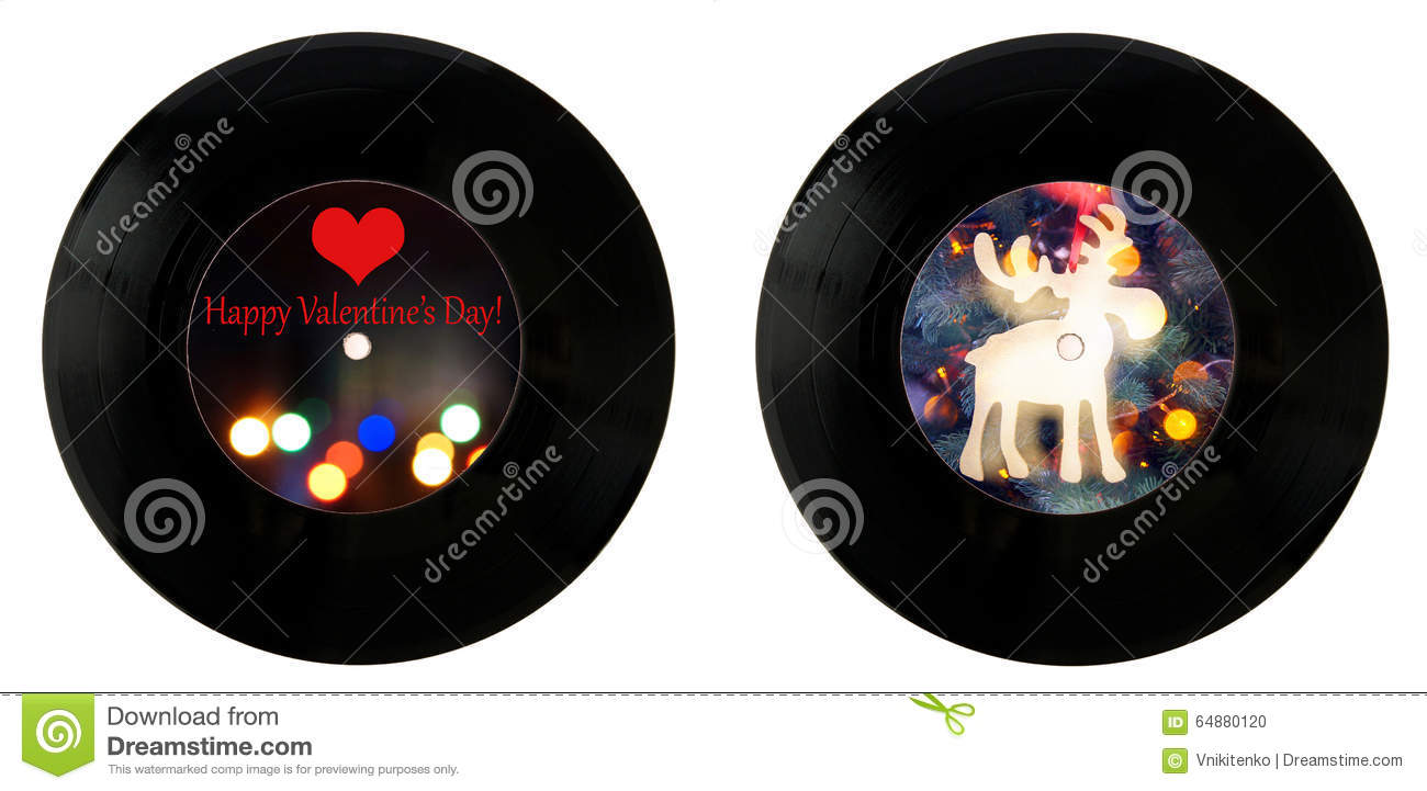 Valentines Day And Happy New Year Vinyl Records Stock Illustration