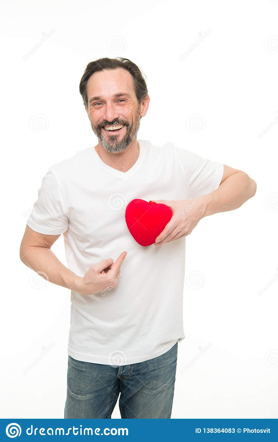 Valentines day. Health care. Mature bearded man with red heart. heart transplant. Holiday celebration. Love. problems