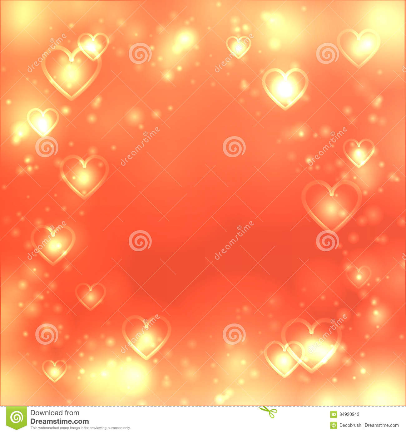 Valentines day heart background, love gold backdrop, space for text