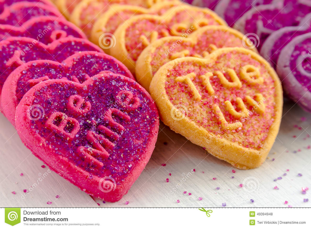 Valentines Day Heart Candy And Cookies Stock Photo Image Of Purple