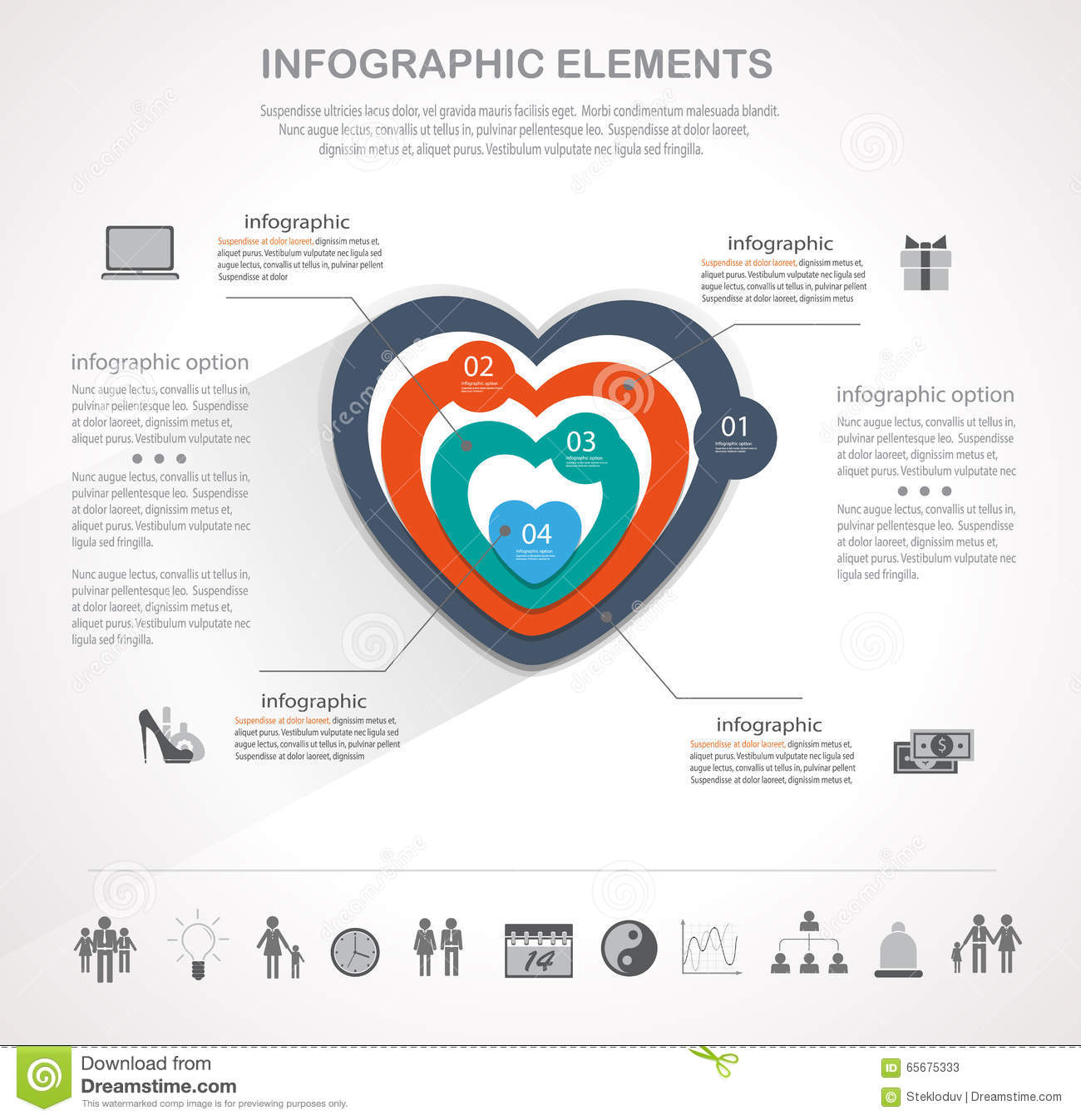 Valentines day heart infographics stock vector illustration of infographic design template and valentines day icons set template for diagram graph chart flyer presentation print and website ccuart Gallery