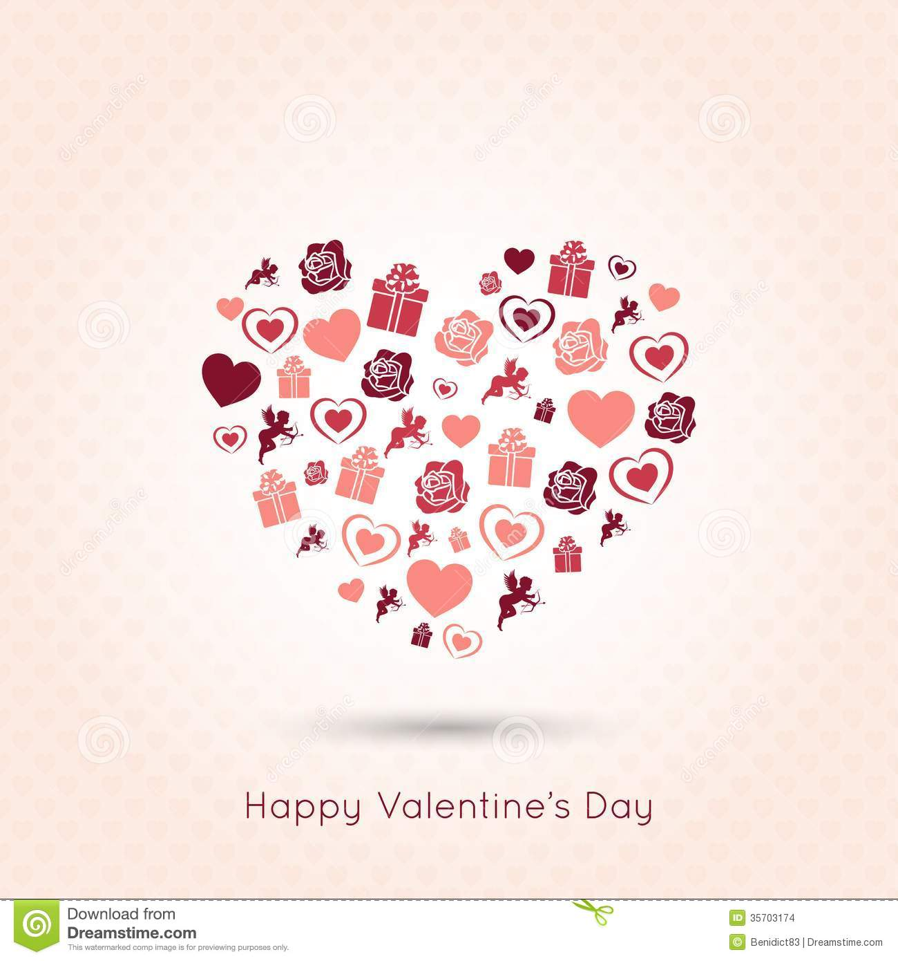 Valentines Day Heart Seamless Design Background Stock Vector