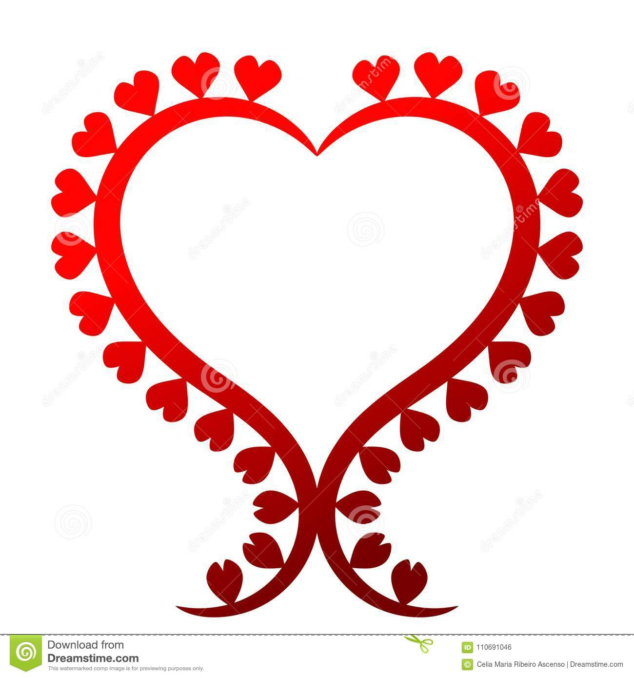 Valentines Day Heart Shape Frame Stock Illustration Illustration