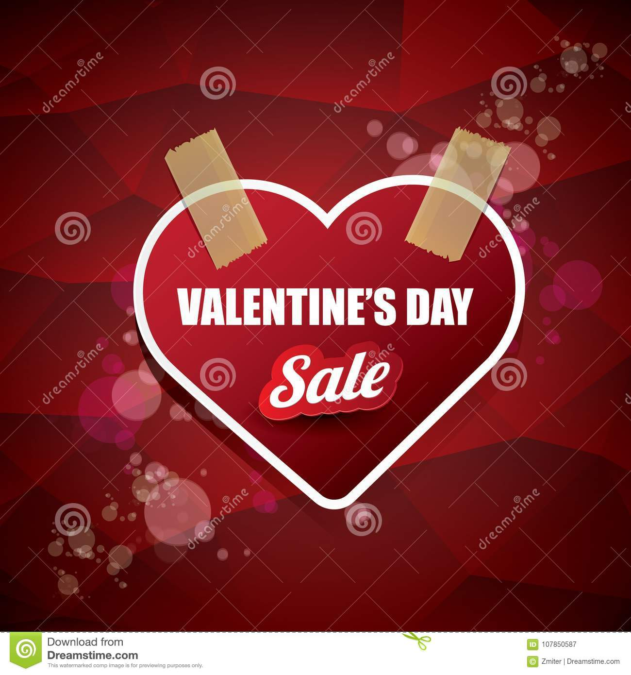Valentines Day Heart Shape Sale Label Or Sticker On Abstract Red