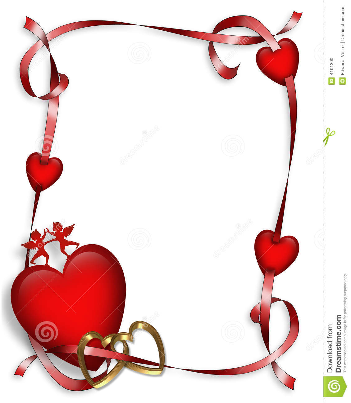 valentines day hearts border stock illustration