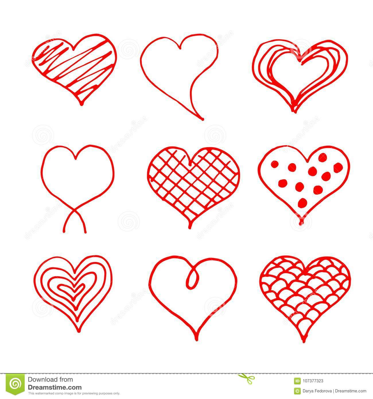 68bdacc2fc1 Valentines day hearts doodles set. Romantic stickers collection. Hand drawn  effect vector.