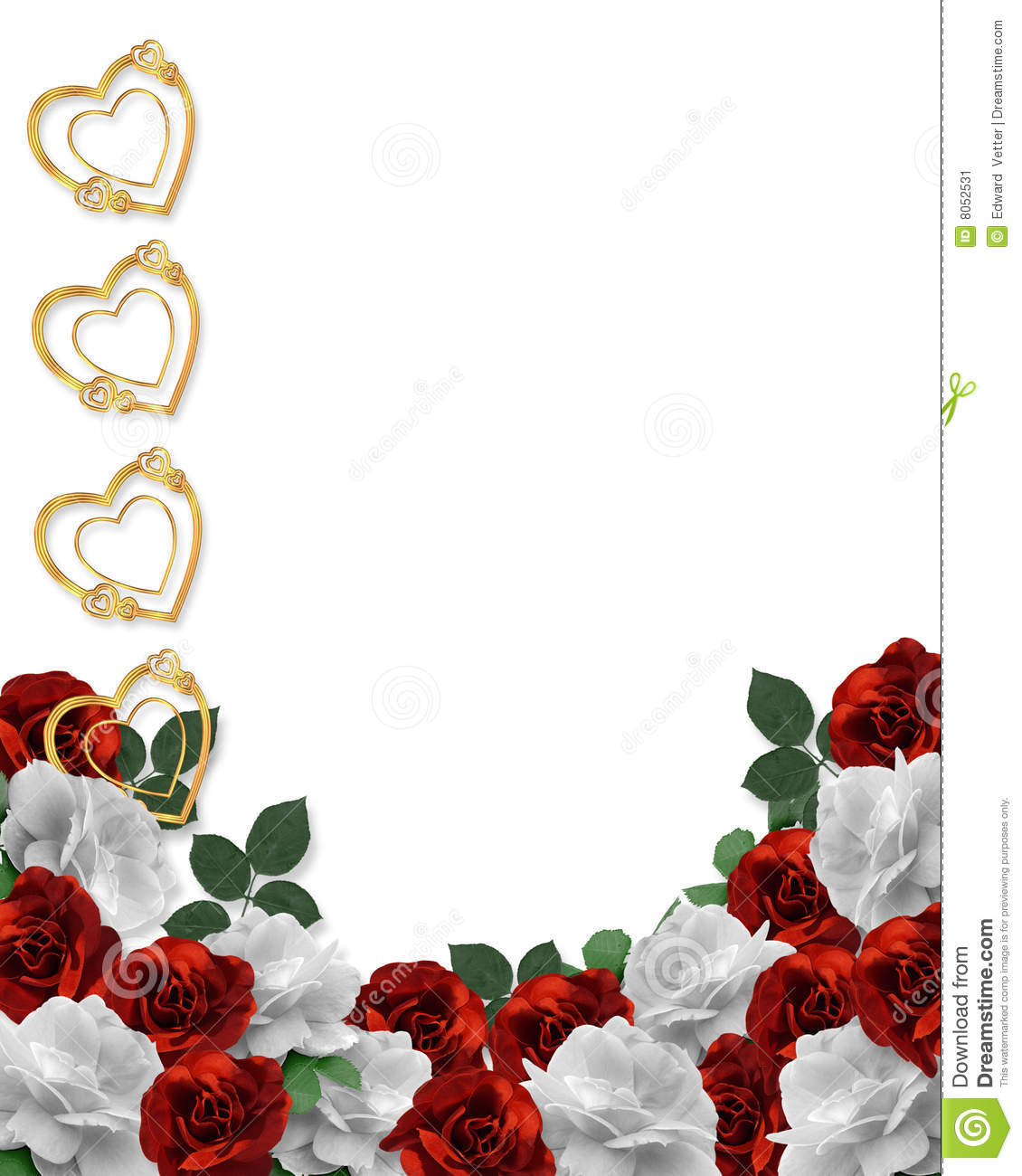 Valentines Day Hearts And Roses Border Stock Illustration