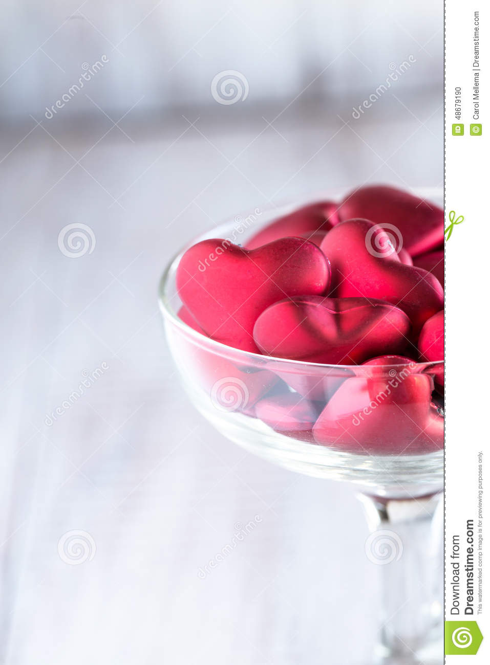 Valentines Day Hearts In Wine Glass