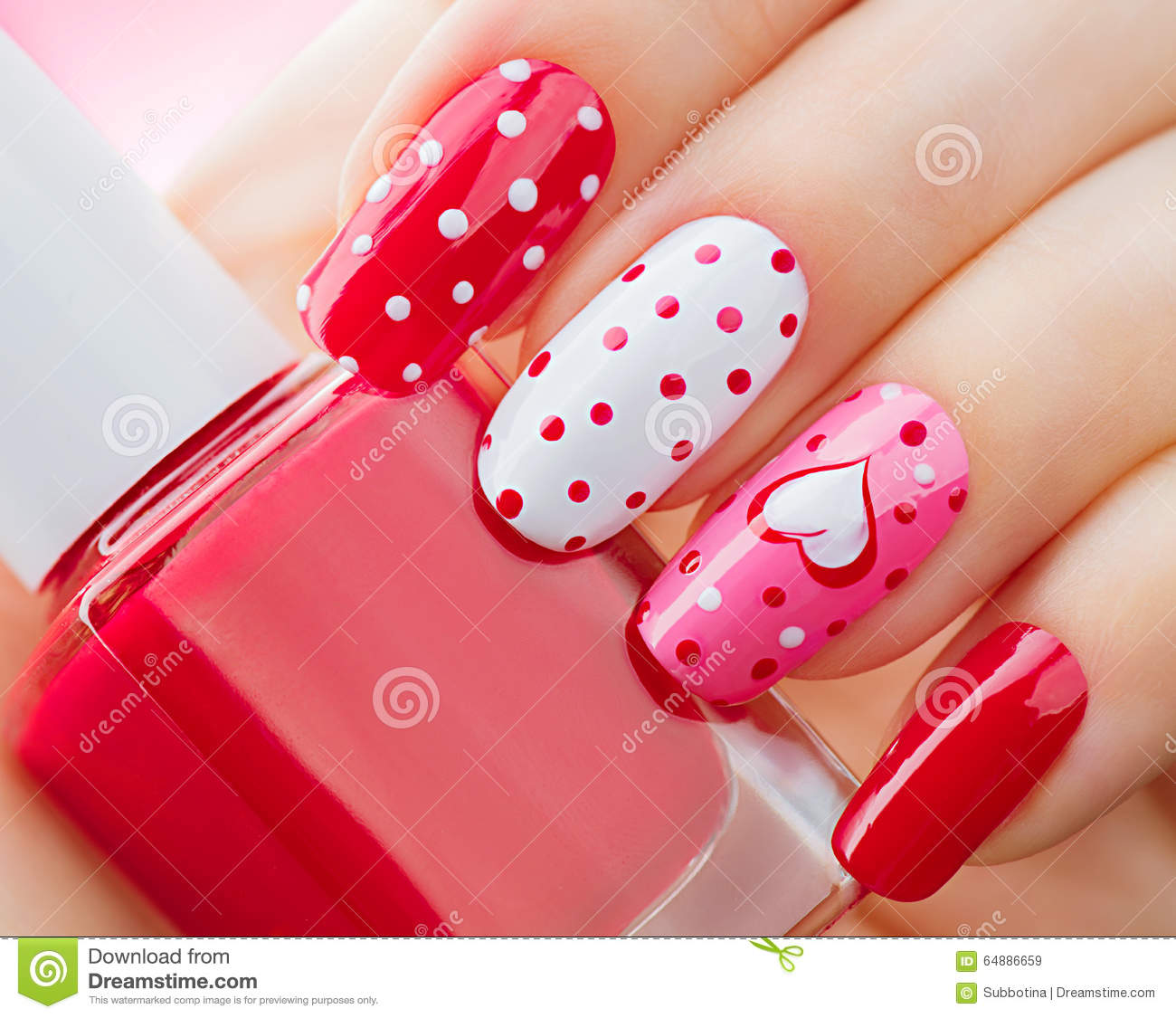 Valentines Day Holiday Manicure With Painted Hearts And Polka Dots Stock Photo Image 64886659