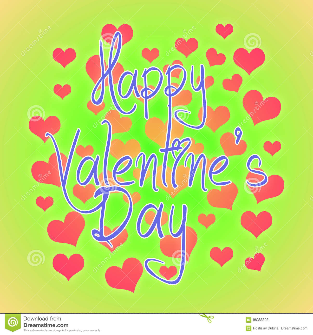 Valentines Day Illustration Happy Valentine Card With Greetings