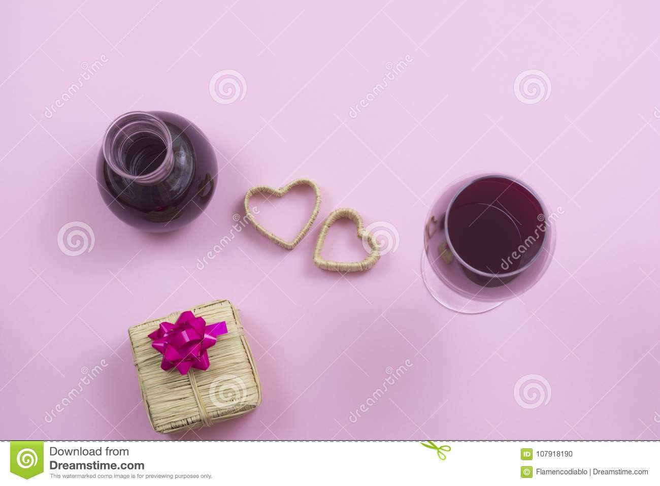 Valentines Day Isolated Pink Background Composition Stock Photo