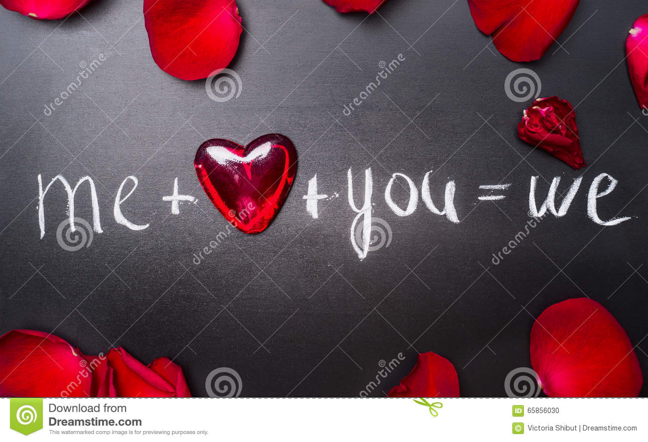 Valentines day lettering background with red hearts and rose petals, top view. Me plus you equals we.