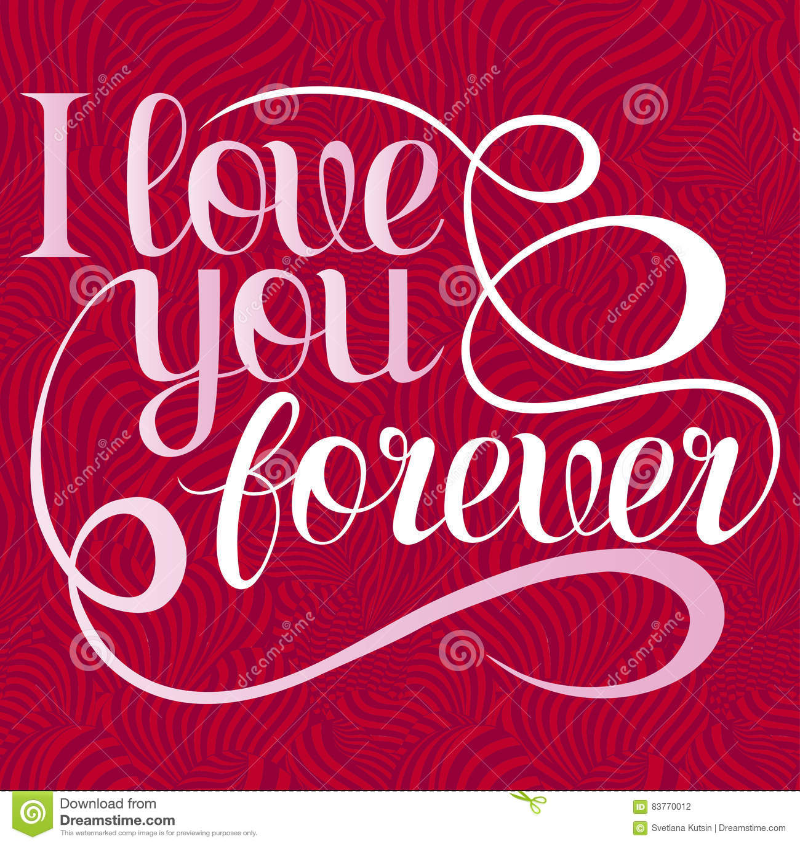 Valentines Day Lettering I Love You Forever Design Elements For