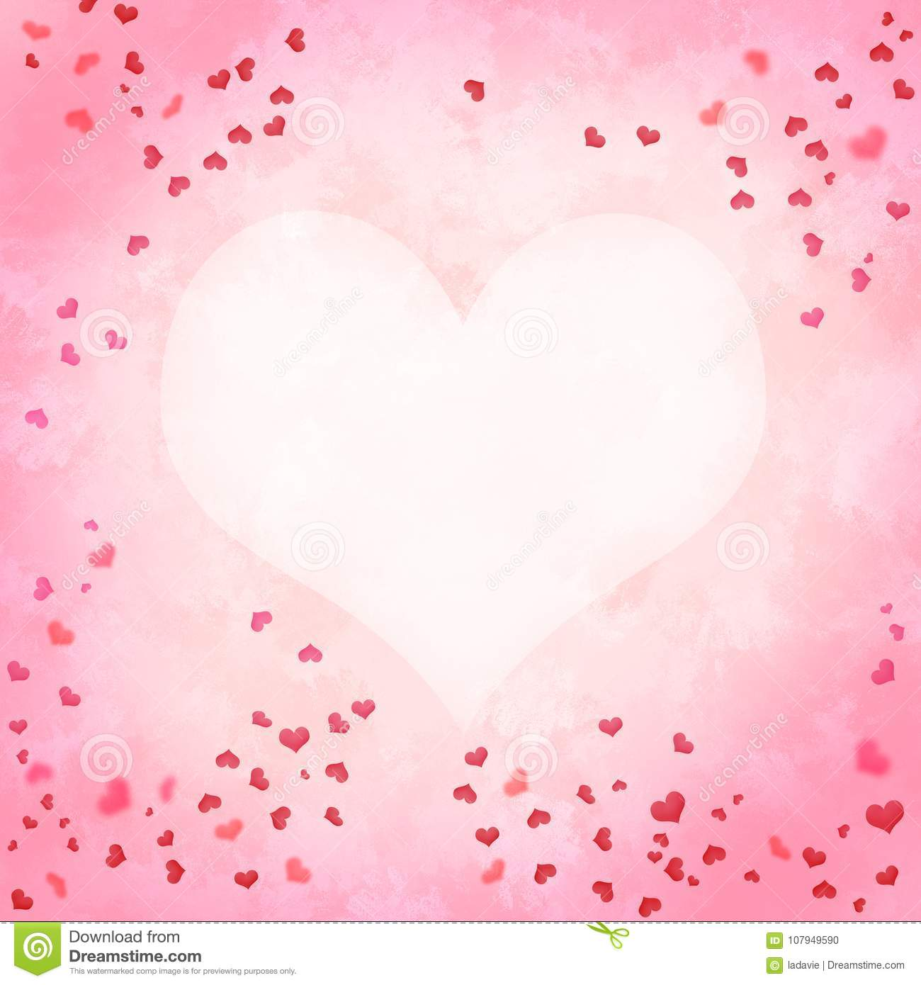 Valentines Day Love Background With Hearts Watercolor Painting