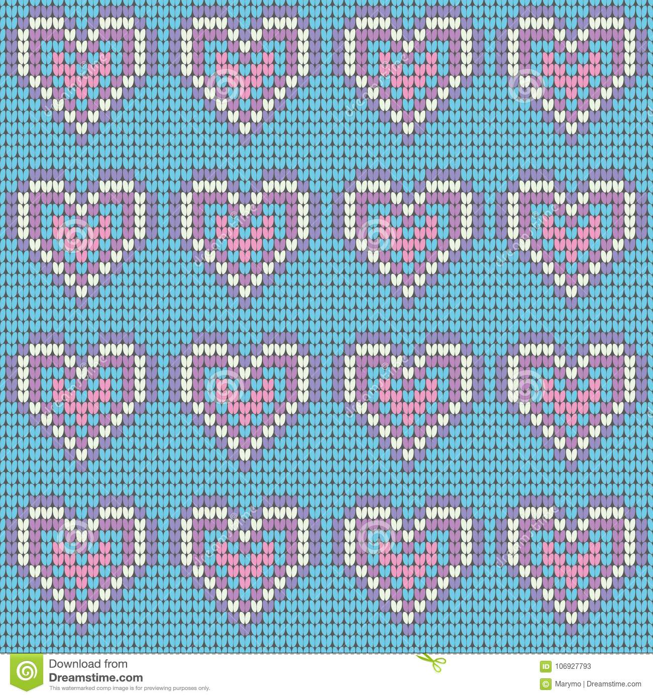 Valentines Day Love Heart Knitted Seamless Pattern. Textures In Blue ...