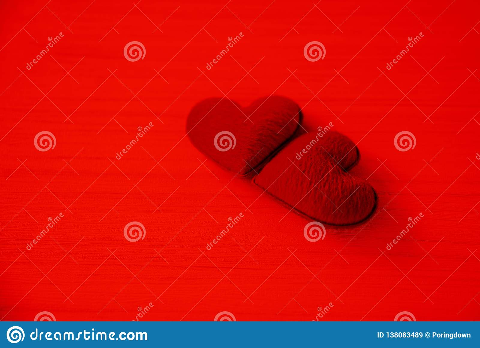 Valentines day love heart romantic concept Couple red heart decorated on red background
